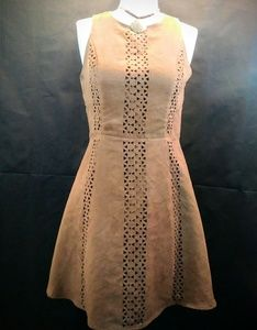 MOSSIMO Brown Sleeveless Eyelet Dress Size M